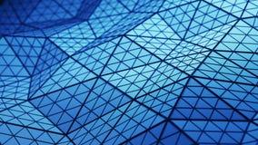 La basse poly forme triangulée bleue avec les polygones subdivisés 3D ren illustration stock