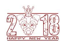 La basse poly tête du chien et l'année numérotent Images libres de droits