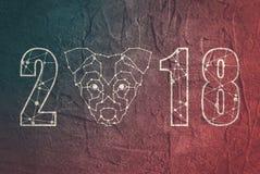La basse poly tête du chien et l'année numérotent photographie stock