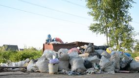 La basura cae en la tierra en el bosque el problema de la contaminación ambiental metrajes