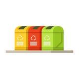 La basura colorida que recicla los envases, compartimientos de los desperdicios rema ilustración del vector