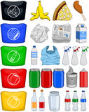 La basura de papel de las latas de las botellas de la comida recicla el paquete ilustración del vector