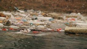 La basura flota en el agua cerca de la orilla Contaminación ambiental almacen de video