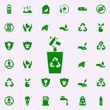 la basura que lanza en el bote de basura pone verde el icono sistema universal de los iconos de Greenpeace para el web y el móvil libre illustration