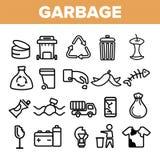 La basura que reciclaba iconos lineares del vector fijó el pictograma fino ilustración del vector