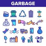 La basura que reciclaba iconos lineares del vector fij? el pictograma fino libre illustration