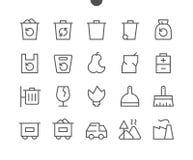 La basura resumió el pixel que el vector Bien-hecho a mano perfecto alinea ligeramente los iconos 48x48 listos para la rejilla 24 Fotografía de archivo libre de regalías