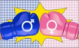 La batalla de los sexos representados con dos guantes de boxeo de oposición Fotografía de archivo