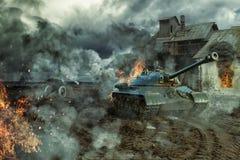 La batalla de los tanques Imagen de archivo libre de regalías