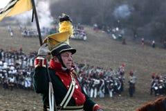 La battaglia di Austerlitz, anche conosciuta come la battaglia dei tre imperatori, era una di più grandi vittorie del millefoglie Immagine Stock Libera da Diritti
