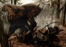 La battaglia nella foresta Immagini Stock