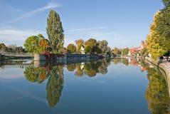 La Baviera di Isar Landshut del fiume Immagine Stock