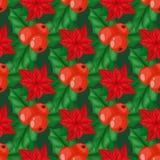 La baya del acebo sale hoja del verde del día de fiesta de la decoración de la Navidad de la rama tradicional del invierno vector libre illustration