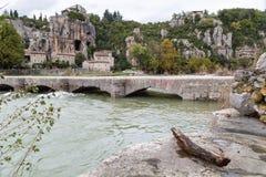 La beaume village in the Ardeche river Stock Photography