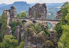 La beauté étonnante de la forêt en pierre de Bastei photos stock