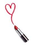 La beauté de rouge à lèvres composent l'amour de coeur Images stock