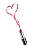 La beauté de rouge à lèvres composent l'amour de coeur Photos stock