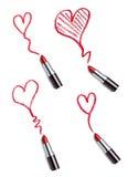 La beauté de rouge à lèvres composent l'amour de coeur Photos libres de droits