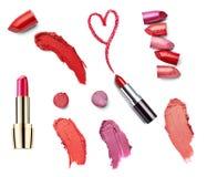 La beauté de rouge à lèvres composent l'amour de coeur Photographie stock