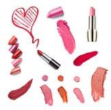 La beauté de rouge à lèvres composent l'amour de coeur Image stock