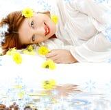 la beauté fleurit le jaune blanc de sable images libres de droits