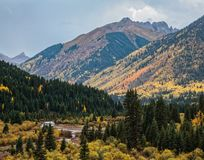 La beauté naturelle du ` s San Juan Mountains du Colorado en automne Images stock