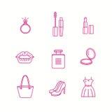 La beauté et l'icône de maquillage ont placé dans le style linéaire à la mode Images stock
