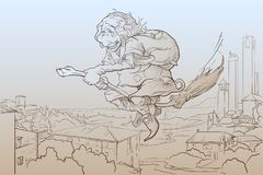 La Befana che sorvola schizzo di San Gimignano Immagini Stock Libere da Diritti