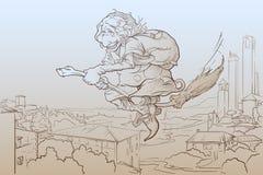 La Befana som flyger över San Gimignano, skissar Royaltyfria Bilder