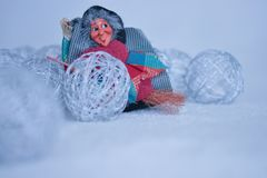 The befana arrives on January 6th, with the snow and the great cold of winter stock photos