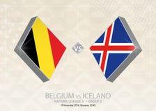 La Belgique contre l'Islande, ligue A, groupe 2 Competiti du football de l'Europe illustration de vecteur
