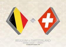 La Belgique contre la Suisse, ligue A, groupe 2 Compe du football de l'Europe illustration libre de droits