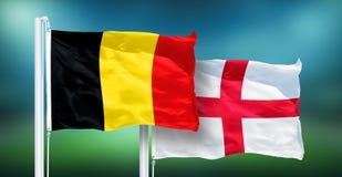 La Belgique - l'Angleterre, 3ème match d'endroit de coupe du monde du football, Russie 2018 drapeaux nationaux images libres de droits