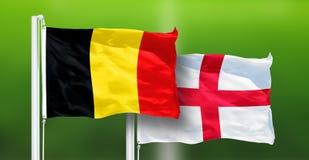 La Belgique - l'Angleterre, FINALE de coupe du monde de la FIFA, Russie 2018, drapeaux nationaux images stock