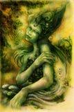 La bella acqua magica elven il fatato, disegno variopinto Immagini Stock Libere da Diritti