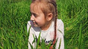 La bella bambina si trova in un campo Ritratto di un bambino felice Ragazza sull'erba verde video d archivio