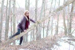 La bella bionda scala attraverso un albero, lo sguardo noi, backgr leggero Fotografia Stock