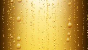 La bella birra bolle aumentando su Animazione di Loopable 3d di acqua frizzante su fondo giallo HD 1080 video d archivio