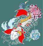 La bella, carpa a specchi variopinta con la spruzzata dell'acqua, il loto e la peonia fioriscono Fotografia Stock