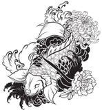 La bella, carpa a specchi variopinta con la spruzzata dell'acqua, il loto e la peonia fioriscono Fotografia Stock Libera da Diritti