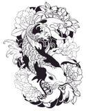 La bella, carpa a specchi variopinta con la spruzzata dell'acqua, il loto e la peonia fioriscono Progettazione giapponese tradizi Fotografia Stock