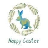 La bella cartolina con un coniglio e va e desidera di un happ royalty illustrazione gratis