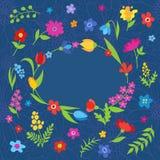 La bella cartolina d'auguri con la molla fiorisce il blu Fotografia Stock Libera da Diritti