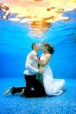 La bella coppia amorosa in vestiti da sposa sta sulle sue ginocchia subacquee al fondo dello stagno Fotografie Stock Libere da Diritti