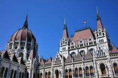 La bella costruzione del Parlamento ungherese di Budapest Immagine Stock Libera da Diritti