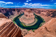 La bella curvatura a ferro di cavallo in Arizona Fotografie Stock Libere da Diritti