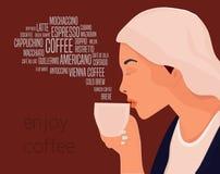 La bella donna beve l'illustrazione di vettore del caffè Goda dell'illustrazione concettuale delle bevande del caffè fotografia stock