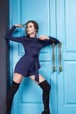 La bella donna di stile del vestito da modo copre il trucco Immagine Stock Libera da Diritti