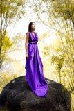 La bella donna ha vestito il vestito dalla lavanda Fotografia Stock