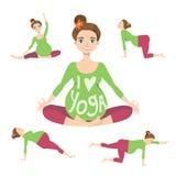 La bella donna incinta sta facendo l'yoga royalty illustrazione gratis